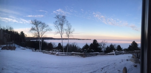 Winter Sunset Bay Point Inn Door County