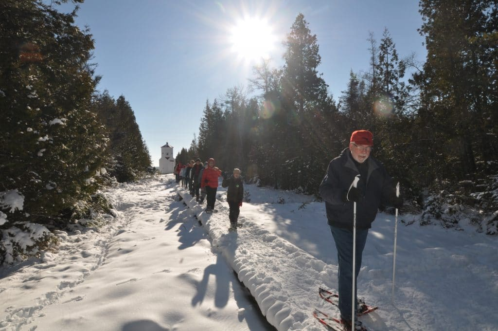 A Guided snowshoe hike at the Ridges.